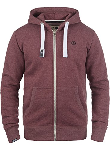 SOLID BennZip Men's Hooded Jacket Zip, size:XXL;colour:Wine Red Melange (8985)