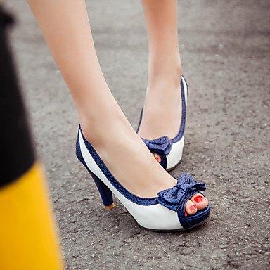 LYNXL Talloni delle donne Primavera Estate Autunno Dress Altro PU Party & Sera Stiletto Heel Casual Bowknot Blu Rosa Bianco Beige Pink