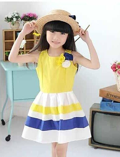 CBIN&HUA bambini serbatoio di fiore a strisce della ragazza sundress festa di compleanno per bambini vestiti eleganti abiti da principessa , yellow-150 , yellow-150