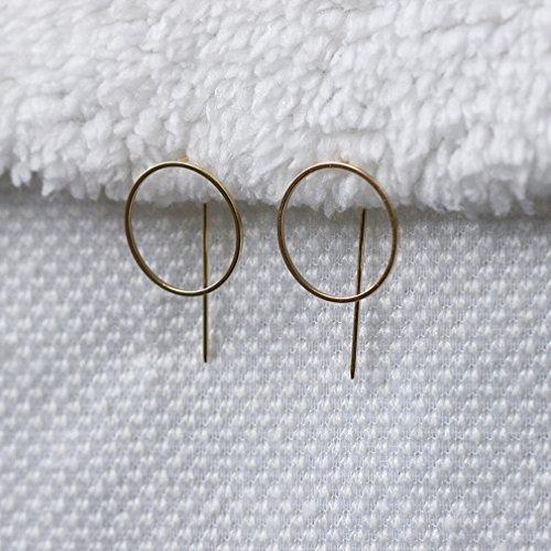 Bigood 1 Paire Boucle d'Oreille Cercle Femme Cuivre Clip Stud Bijoux Fantaisie Earrings Anniversaire Or