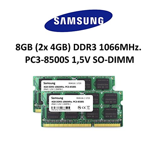 Samsung 8 GB DDR3 1066 mhz Dual Channel Kit (2 x 4GB) (PC3 8500S) SO DIMM Laptop Memory Laptop Memory RAM