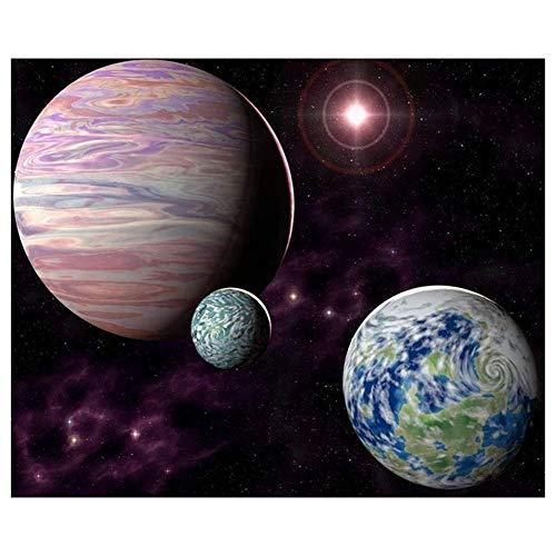 Greatmin Diamantmalerei-Set für Erwachsene, 5D, DIY, volle Bohrer, Diamant-Malerei, Werkzeuge für Heimdekoration, Planet im Universum, 15,7 x 30 cm, 1 Packung -