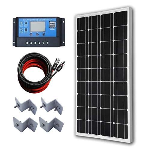ECO-WORTHY 100W Solaranlage Set: 100 Watt 12V Mono Solarmodul + 20A LCD Regler Laderegler für 12 Volt Batterien