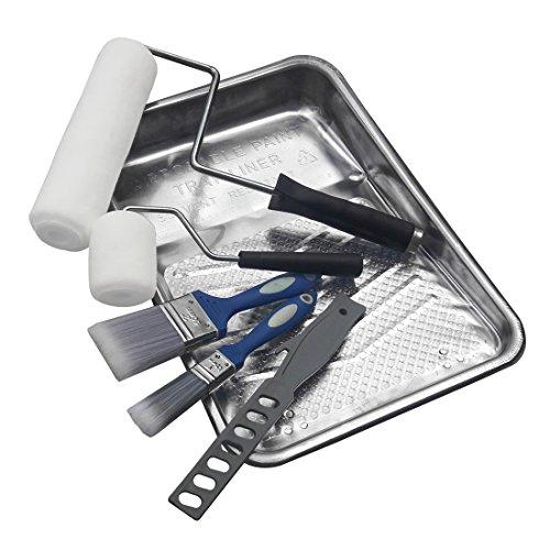HAUTMEC Kit de pintura Premium de 9 piezas, bandeja de pintura de aluminio, pintura de 9 pulgadas, rodillos, cubiertas de rodillos de pintura, brochas de pintura, mezclador de pintura, HT0032-PT