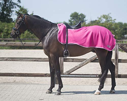 QHP Nierendecke Fleece-Ausreitdecke Color Fleecedecke Sattelausschnitt (L, Fuchsia)