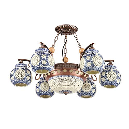Kdy lampadario in ceramica - lampade antiche cinesi, corpo in ferro battuto in legno, paralume in ceramica, lampadario a soffitto, adatto for camera da letto, soggiorno, corridoio [classe energetica a