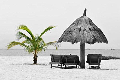 Acrylglasbild Hady Khandani - COLORSPOT - POINTE DENISE - GABON 1 - 164 x 110cm - Premiumqualität - HADYPHOTO, Fotografie, Colorspot, Büro, Wohnzimmer, schwarz/weiß, Strand, Palme, Sonenschirm, Meer - MADE IN GERMANY - ART-GALERIE-SHOPde