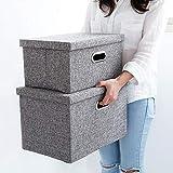 Aufbewahrungsbox mit Deckel, Stoffbox Leinen Stoff Faltbare Faltbox mit Deckel Korb Würfel Organizer Boxen Container Schubladen für Büro Schlafzimmer Shelf (38x26x25CM)