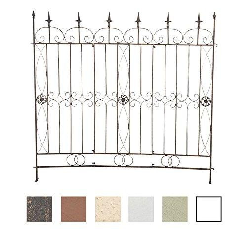 CLP Recinzione da giardino in ferro MANGOLD, 125 x 115 cm, modulabile, colori a scelta, finemente decorato, ideale come sostegno e spalliera per rampicanti bronzo - Bronzo Giardino Recinzione