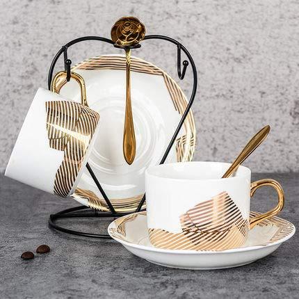 Tasses à café,Tasses à thé et soucoupes Ensemble de 2 Set Mug en céramique Mis en avec Soucoupe et cuillère Couple de Tasses Verre créatif-M 150ml