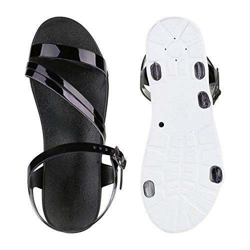 Damen Sandalen Metallic Lack Flats Riemchensandalen Schuhe Schwarz