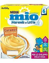 Mio Merenda al Latte Caramel senza Glutine, per Bambini da 6 Mesi - Pacco da 4 x 100 gr - Totale: 400 gr