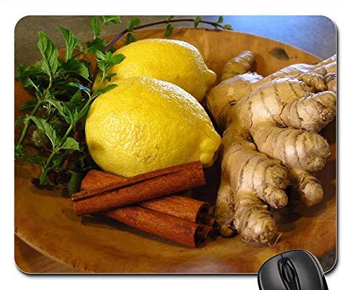 Mausunterlage - Zitronen-Ingwer-Zimt-Minzen-Bestandteil-Tee-Kraut - Zitronen-kräuter-tee