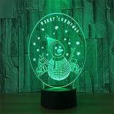 LUCKY-U Illuminazione Luci Lamp Pupazzo di Neve di Natale 3D Stereoscopico Acrilico Toccare Colorato...