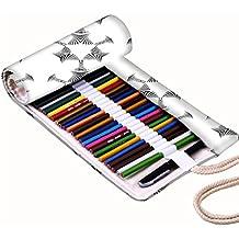 Snoogg Pequeño Robot Diseño de color blanco lienzo Wrap Soporte Para Rollo de papel de 36lápices de colores, funda para bolígrafo de Gel, bolsa organizadora de viaje para artista, multiusos (lápices no incluidos), 36agujeros