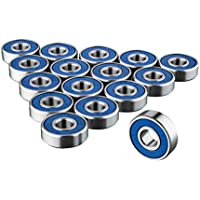 608RS Skateboard Bearings x 16 - Frictionless Abec 9 Roller Bearing for Skate boards - By Trixes