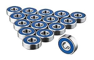 TRIXES 16 reibungsfreie Kugellager Abec 9 für Skateboard, Roller, Inline Skates und Fidget Spinner Speilzeug