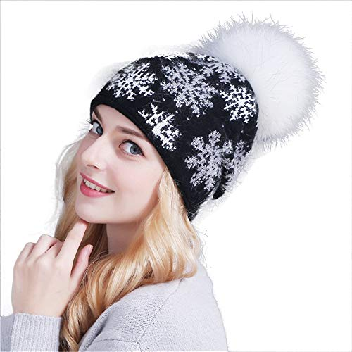 neeflocke-Außenwärme mit Haar-Ball-Strickmütze Hut (Farbe : Schwarz) ()