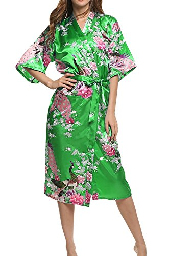 Dolamen Damen Morgenmantel Kimono, glatte Satin Nachtwäsche Bademantel Robe mit Peacock und Blume Kimono Negligee Seidenrobe locker Schlafanzug, Langer Stil (Large, Dunkelgrün) (Kimono Robe Damen)