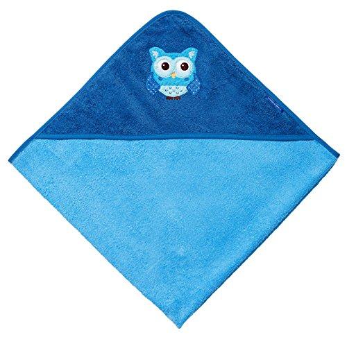 Morgenstern Kinderhandtuch mit Kapuze Baby Kapuzenbadetuch Frottee Eule Blau