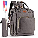 Diaper Bag Backpack 26L with USB Charging Port, Waterproof Nappy Changing Backpack
