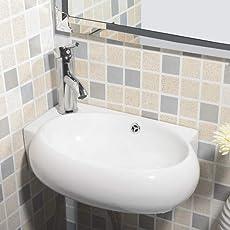 Mecor Design Eckwaschbecken Keramik Waschschale Oval/mit Überlauf & Hahnloch 9500