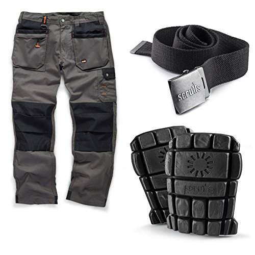 Scruffs Worker Plus Work Trousers Graphite Grey with Knee Pads and Graphite Grey Clip Belt Men's Trade Hardwearing Combat Cargo Pants