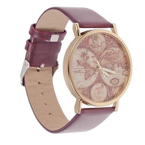 Alta calidad Estilo Vintage Unisex reloj de pulsera de cuarzo con café marrón PU Band, caja de oro y mundo/mundo mapa patrón pantalla by VAGA