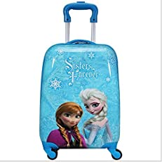 """16"""" inch 360Â Rotating Lagguge wheels Bag, Printed Pattern Non-Breakable Girls/Kids Trolley Bag- Multi-Colour by Exclusive Fashion Luggage (16""""Froze n Sisters)"""