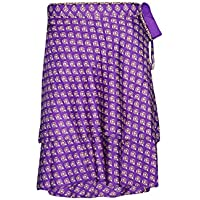 Mogul Interior Mini Wrap Skirt Printed Reversible 2 Layer Recycled Silk Beach Magic Skirts