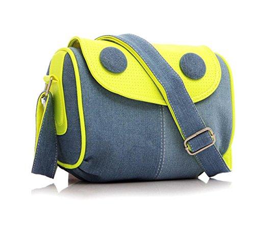 Frühling Weibliche Studenten Denim Tasche Leinwand Umhängetasche Umhängetasche green