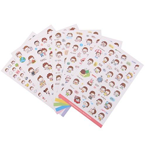 FITYLE 2-6 Blatt Niedlichen Sticker Set Kawaii Aufkleber Scrapbooking Deko für Tagebuch Geschenk Vintage Papieraufkleber DIY – Farbe4, 6pcs