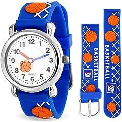 Bling Jewelry Reloj de Deportes para Niños Azul con Balones de Baloncesto Acero Inoxidable