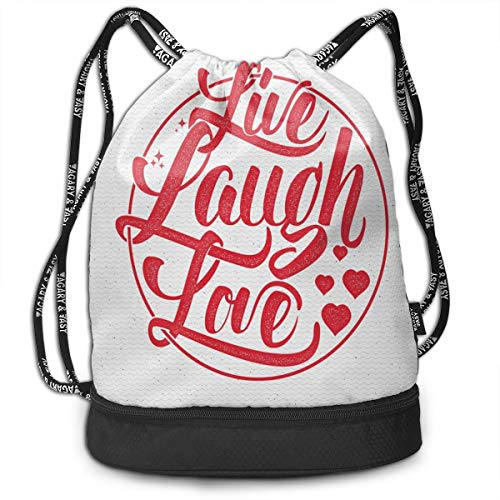MLNHY Printed Drawstring Backpacks Bags,Retro Style Calligraphy Old Fashioned Stamp Design Red Hearts and Stars,Adjustable String Closure -