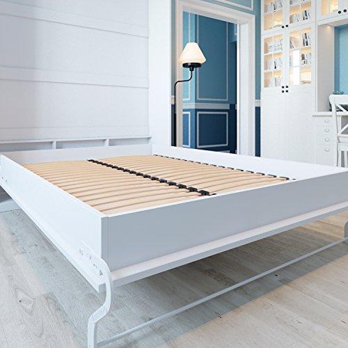 Schrankbett 140cm Vertikal Weiß Hochglanzfront, ideal als Gästebett – Wandbett, Schrank mit integriertem Klappbett, SMARTBett - 3