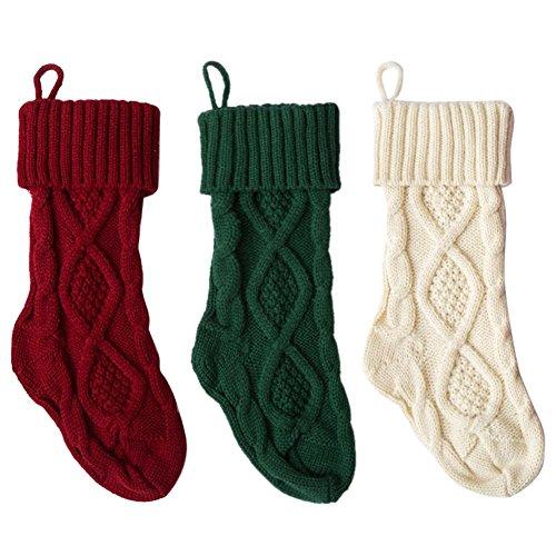Calza di natale, decorazioni di calze natalizie personalizzate, decorazioni per alberi a maglia con cravatta appesa per riempire con una gamma di regali, regali e dolcetti