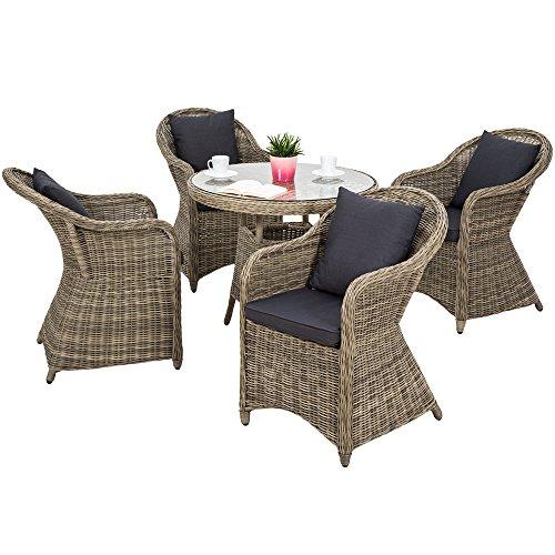 TecTake 800265 Aluminium Polyrattan Garten Sitzgruppe, wetterfest, 4 Gartensessel und 1 Tisch, inkl. 8 Kissen - Diverse Farben - (Natural | Nr. 401765) -