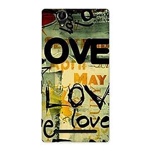 Stylish Love Typo Multicolor Back Case Cover for Sony Xperia T2