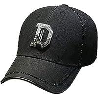 Hat Casquillo Femenino del Sombrero, Gorra De Béisbol del Diamante Artificial del Diamante, Sombrero Femenino del Salto De La Marea, Sombrero del Sol del Verano,Negro,Un tamaño