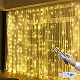 Tenda Luminosa Natale 3 * 3m 300LEDs Catene Luminose Con Telecomando, Tenda Luci con 8 Modalità Luci Stringa IP67 Impermeabile per Festa Decorare Interni ed Esterni, Casa, Salotto, Giardino, Terrazza