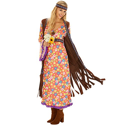 Imagen de disfraz de hippie srta. peacemaker para mujer | espectacular eestido largo con chaleco de imitación de terciopelo | incl. cabeza m | no. 300933