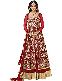 SareeShop Women's Gown Latest Party Wear Design Georgette Embroidery Semi Stitched Free Size Salwar Suit Dress...