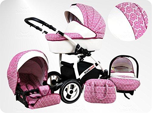Lux4Kids BIANCinO Kinderwagen Komplettset (Autositz & Adapter, Regenschutz, Moskitonetz, Schwenkräder) 01 Eco Leather White & Rose -