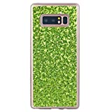 Coque Galaxy Note 8, Misteem Glitter Sequins, Misteem Shining Sparkle Bling Stars Diamond Back Case Transparent Ultra Slim Thin Shockproof Shell Rubber Silicone Crystal Clear Protective Cover Bumper for Samsung Galaxy Note 8 (Purple)