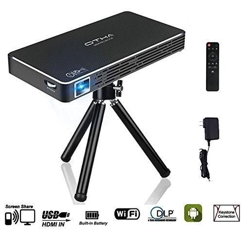 OTHA Mini Beamer 1080P Led Full HD Android Mini Projektor Eingebaut in 32GB Speicher, DLP Pico Video Projektor 100 ANSI Lumen, Unterstützung für HDMI Eingang / WiFi / USB / - Laser-projektor 1080p