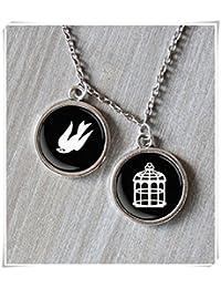 Bioshock collar, joyería de videojuegos, Bioshock Bioshock Infinite, diseño de pájaro y jaula collar
