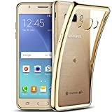 Smartlegend Samsung J5 2016 Silicone Case ,Galaxy SM-J510 Clear Cover , Samsung Galaxy J5 2016 Soft Shock Absorb Clear Back Panel Flexible Crystal Metal Electroplating Technology Gel TPU Rubber Transparent Back Cover Ultra Thin Shockproof Anti Slip Smartphone Case -Gold - Samsung Galaxy J5 2016