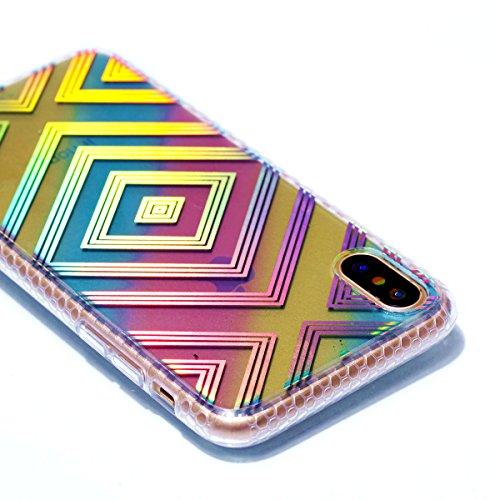 Pour Apple Iphone X Case Cover, Ecoway TPU Soft Motif de placage en couleur personalized pattern Housse en silicone Housse de protection Housse pour téléphone portable pour Apple Iphone X - diamant fille