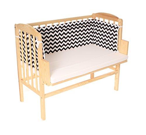 BABYBLUME Kinderbett Gitterbett Beistellbett Maria 90x40cm (Matratze BASIC, Kiefer und Nest schwarz weiß) - Matratze Nachricht