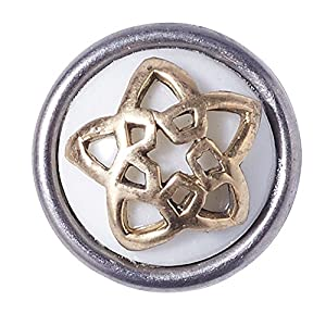 Noosa Petite Chunk APPLE STAR Pentagram white/ brass – bone